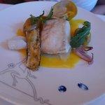 Wild Halibut grantinee clams, calamari, cipolline onion marmalade, peanut potatoes, saffron