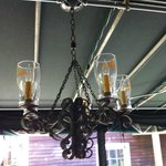 The Guinness glass chandelier on the patio