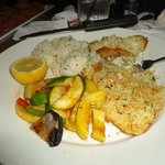 White fish, rice, and grilled veggies