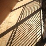 Plywood floor on balcony walkway.
