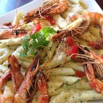 grilled prawns with penne pasta