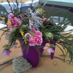 Beautiful floral designs made by the ladies of one of the many local garden clubs.