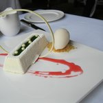 White chocolate mousse cake with capari syrup and grapefruit sorbet