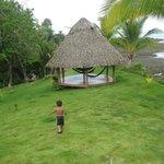 Hammocks - grandson running to beach path