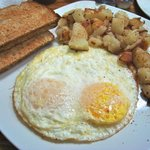 Two eggs, hash and toast