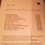 Mini bar price list!