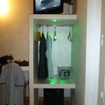 TV, clothers hangers, safe & mini fridge