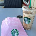 Venti Mocha Frap light and a chocolate Croissant