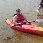 Dad in kayak on Loch morlich 2013
