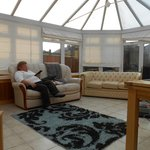 The sunroom was sunny even with overcast skies.