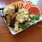 cashew chicken salad in avocado