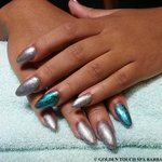 Gel Nails with Hologram Nail Decoration on Index and Ring Finger