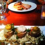 my husband's dinner- chorizo stuffed pork on a bed of risotto