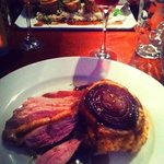 my dinner- slice duck on a bed of chorizo risotto and a red onion tarte au Tain- beautiful!!