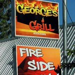 Roadside sign for George's Grill - Fireside Inn