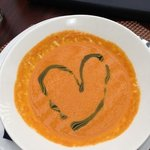 tomato bisque with a heart