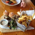 trio of burgers which were amazing!!