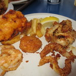 My first plated portion.  Shrimp, scallop, fries, whole clams, and a clam cake (which was ordere