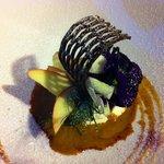 Dessert - a little piece of art on a humongous plate.