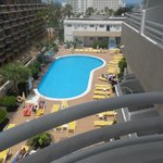 View of the pool area from balcony