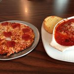 Small pepperoni pizza and lasagna