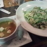 Caesar salad and lobster bisque