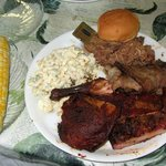 Four Meat Dinner w/Pulled Pork, Brisket, Ribs, Chicken, Macaroni Salad, Fresh Corn and a Roll