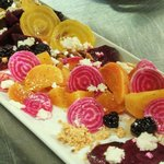 beet salad with chevre, honey, and blackberries