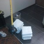 This is what we were given to fix the toilet and dry the floor