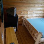 view from inside the door of our cabin. Nice comfy bed and a tv to boot!