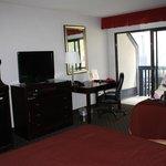 TV, balcony & desk area