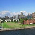 View of downtown Buffalo from observation tower at the Erie Canal Harbor