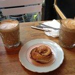 wonderful cinnamon bun and soy latte