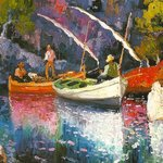 Barcas en Formentor. Dionís Bennàssar, óleo sobre tabla.