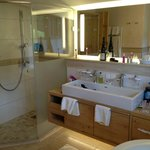 double sink and large walkin shower