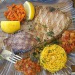 spada grigliato con riso e verdure