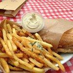 Porchetta sandwich with fries