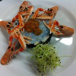 tartar di scampi con polpa di riccio