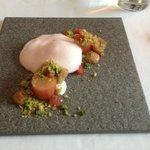 Rhubarb and Almond Cake with Vanilla Ice Cream