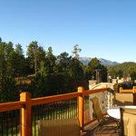 back patio and view of mountains