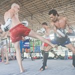 Padwork and clinch in the ring