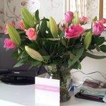 My birthday flowers and dresser