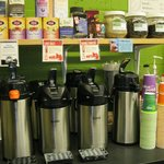 Coffee to go - fair trade, organic, and/or locally roasted.