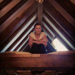 Loft bed in the suite - love the old beams!