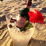 LP on beach