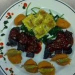 NY Strip, cooked perfectly to order, with a sweet 'n spicy BBQ sauce. Sweet potato mash and buff