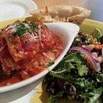 Buffalo green chile lasagna at Cafe Cafe