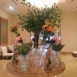 Lobby flower display, changed weekly