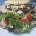 Steak sandwich with mozza cheese and a side salad with house dressing