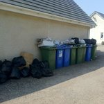 bins at the rear of hostel, no attempt to have them screened off before bin day